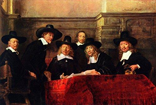 Het Museum Outlet - Portret van voorzitter van de doek makers gilde door Rembrandt, Stretched Canvas Gallery verpakt. 11,7 x 16,5 inch