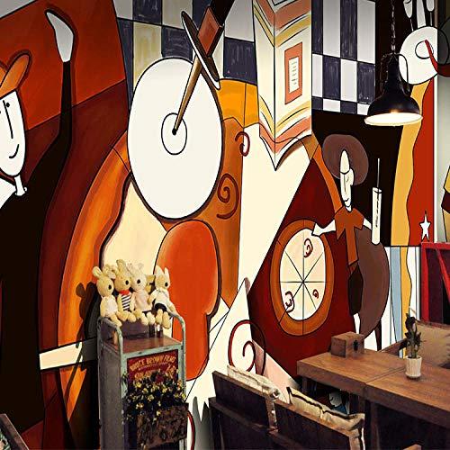 ZDBWJJ Custom Dieet Pizza Pizzeria Restaurant Handgeschilderd 3D Behang Abstract Figuren Koffie Bank Achtergrond 3D Behang muurschilderingen 250cmx175cm