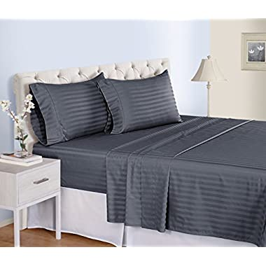 500 Thread Count Cotton Sheets Set - 100 Pima Cotton Pure Sateen Weave Long Staple Ultra Soft 4 Piece Bed Sheet Sets, Solids and Stripes Fits 18  Deep Pocket Mattress ; ( STRIPE, QUEEN - GRAPHITE)