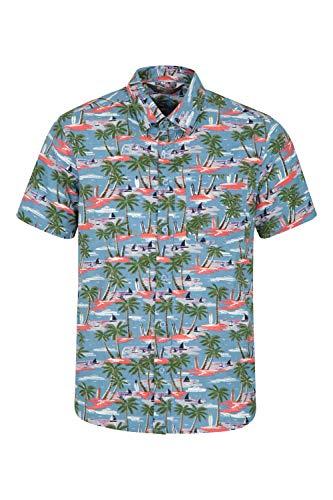 Mountain Warehouse Camisa de Manga Corta Hawaiana para Hombre - Ligera, Transpirable, Suave y con Estampado elaborado - para Viajes, excursiones, picnics y barbacoas Azul 3XL
