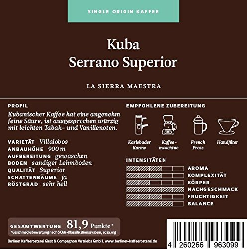 BKR | Kaffee | Kuba | Serrano Superior | Arabica | Single Origin 1000g Bohne
