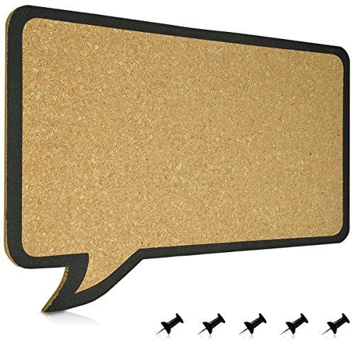 Navaris Kork Pinwand Memoboard Tafel - 44 x 29 cm Pin Board Korkwand - Pinnwand im Sprechblase Design - Korktafel Memo Wand inkl. 5 Pins