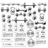 32pcs Sport Charms Barbell Dumbbell Kettle Bell Weightlifting Charms Pendants for Necklace Bracelets Jewellery Making Crafting,14 Styles