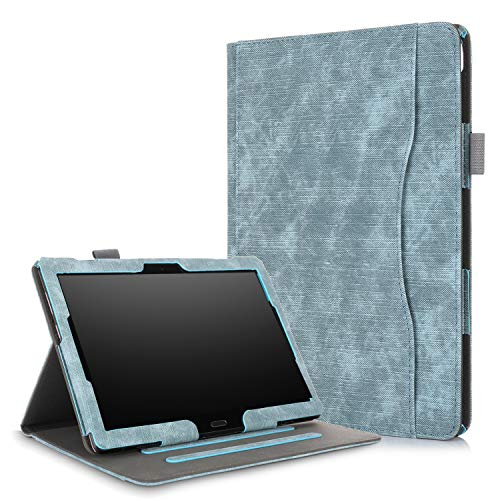 Xuanbeier Multifunktional Hülle Kompatibel mit Lenovo M10(TB-X505F TB-X505L TB-X605F TB-X605L) / P10(TB-X705F) 10.1 Zoll Tablette mit Multi-Winkel & Handhalter, Grau Blau
