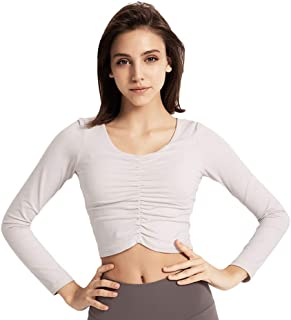Sentao Women's Long Sleeve Sports Running Tops Shirts, Quick-Dry Fitness T-Shirt Tops for Workout Gym Training Yoga