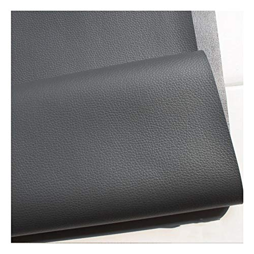 GLFYHG DIY Simili Cuir d'ameublement uni, Idéal pour travaux manuels, Patchwork, décorations, Noir Gris, 1,38 x 2m