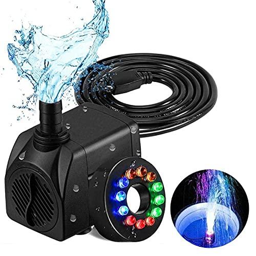 Pompe à eau submersible 16W pompe de fontaine avec 12 couleurs LED lumière mini fontaine pompe à eau pompe à eau extérieure pour la fontaine d'aquarium Garden House Horizontal Tank Réservoir de réfugi
