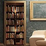 LBMT - Adhesivo decorativo 3D para puerta, diseño vintage de estantería de libros europea, decoración de pared, tamaño XL (47,5 x 215 x 2 unidades)