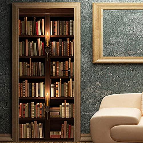 LBMT - Pegatinas 3D para puerta, diseño vintage de estantería de libros, pegatinas de pared para el hogar de madera, pegatinas decorativas renovadas M (44 x 200 cmx2 unidades)