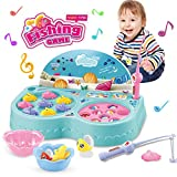 Fishing Games Electric Rotating Music Toy Set Fish Crocodile Double Pond Educational & Developmental Macaron...