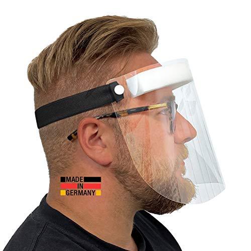 Urhome Hard 1 x Visier Gesichtsschutz aus Kunststoff   Face Shield in Schwarz   Universales Gesichtsvisier für Erwachsene   Visier zum Schutz vor Flüssigkeiten   Made in Germany