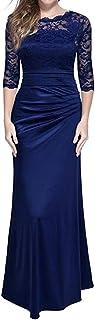 Lulupi - Vestito da donna in pizzo, stile vintage anni '50, elegante, abito da cocktail, abito da sera maxi abito da sposa