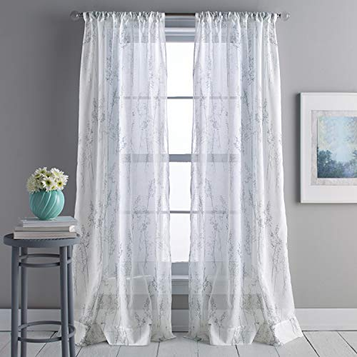 DKNY Whisper Sheer Window Curtain Single Panel, 84-inch, Linen