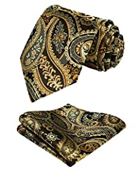 Hisdern Men's Paisley Floral Jacquard Waistcoat&Necktie and Pocket Square Vest Suit Set, Gold, L(Chest 46inch) #2