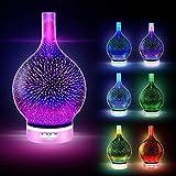 Difusor de aceites esenciales 3D de cristal con efecto de fuegos artificiales, ultrasónico, humidificador, 7 ledes de cambio de color, promueven el sueño, control del temporizador (120 ml)
