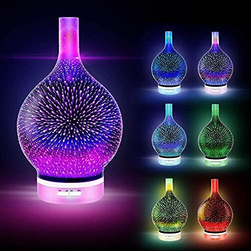 3D Feuerwerk Glas Ätherisches Öl Aroma Diffusor Ultraschall Aromatherapie Luftbefeuchter - 7 Farbwechsel LEDs, fördern den Schlaf, Timer-Steuerung (120ml)
