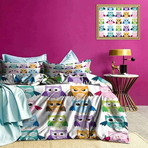 Tagesdecke Bettdecke Set Friendly Bird Owl Comic Weiche leichte Bettdecke für Schlafzimmer Dekor