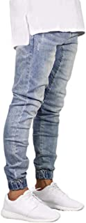 Howely Men's Jogger Washed Pockets Relaxed Fit Slim-Tapered Mid Waist Jeans
