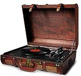 Camry CR1149 Tocadiscos de Vinilo Vintage, 3 velocidades 33/45/78 RPM, Altavoces Incorporados, Diseño Maleta, Entrada y Salida Audio, marrón