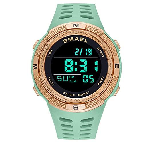 メンズデジタルウォッチ - スポーツミリタリーウォッチ、LEDバックライト/アラーム/日付が付いている男性のための防水屋外クロノグラフ電子腕時計の時計,Mint green