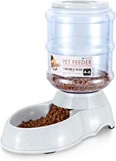 Flexzion Pet Food Dispenser Station, Self Replenish Pet Feeder Automatic Gravity Fed Dry Food Storage Container with Antimicrobial Microban Plastic, Skidproof Rubber Feet for Dog Cat Animal
