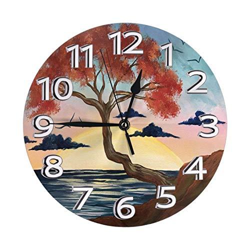 GOSMAO Reloj de Pared,Pino Acantilado Gaviota Nube Oscuro, Reloj de Escritorio Decoración del hogar para Cocina Sala de Estar Dormitorio Oficina