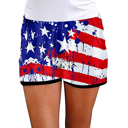Buy FD Izmn Fashion Women Independence Day Print Shorts Double Pockets Casual Short Pants Summer Tre...