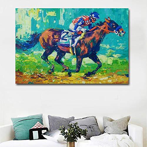 Print canvas olieverfschilderij indruk mode man paarden sport abstract ras dik huis decoratieve muurkunst afbeelding 60*90cm A