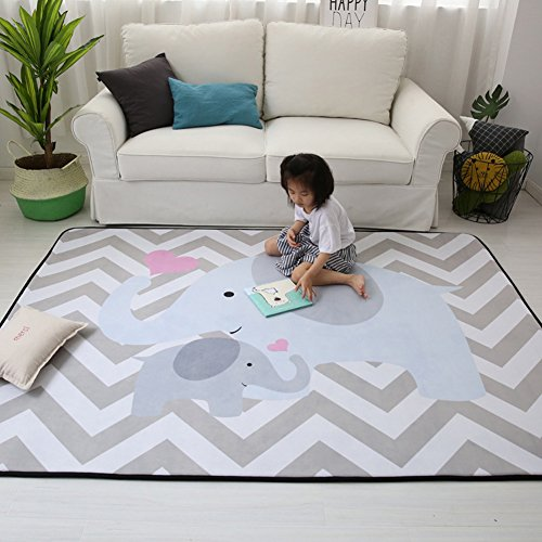 Stylish Extra Large Baby Play Mat Soft Playmat Grey Rug Foam Play Mat Kid Floor Mats Baby Crawling Mats Climbing Pad Nursery Rug Carpet, Elephant, 59 by 79 Inches