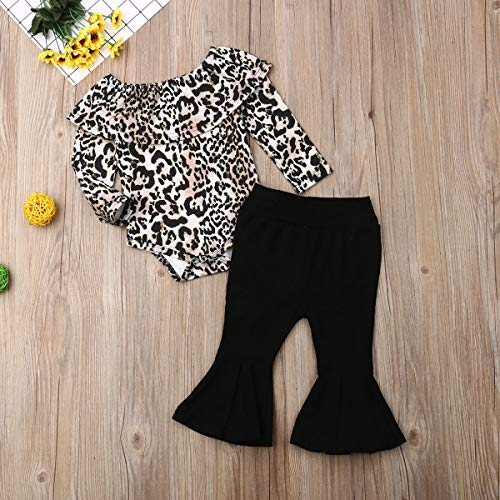 Newborn Infant Baby Girls Clothes Ruffle Long Sleeve Solid T-Shirt Tops+Leopard Pants Autumn Clothes Outfits (Leopard, 2-3 T)