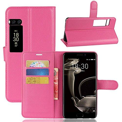 Ycloud Tasche für MeiZu Pro 7 Plus Hülle, PU Kunstleder Ledertasche Flip Cover Wallet Case Handyhülle mit Stand Function Credit Card Slots Bookstyle Purse Design Rose Red