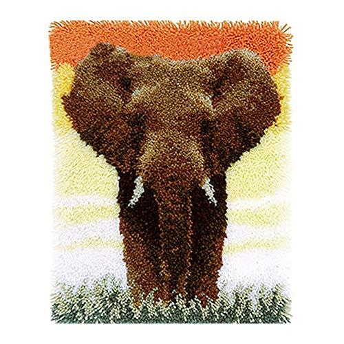 DFGHN Latch Hook Rug Kits Elephant Pattern Printed DIY Needlework Yarn Crochet Kits for Adult Kids Gifts