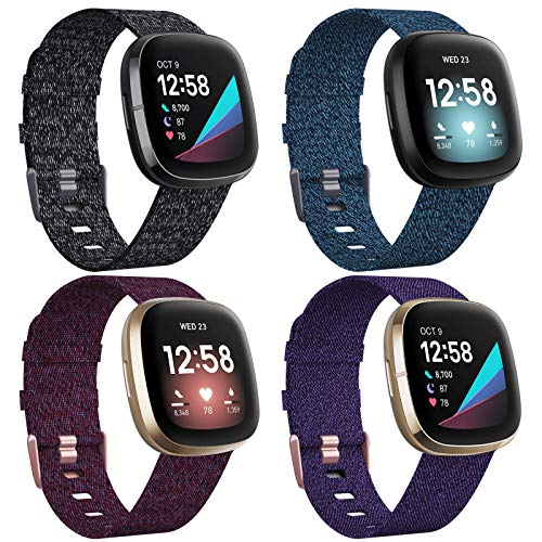 VASG 4 Pack Bands Compatible with Fitbit Versa 3 / Fitbit Sense Bands, Small Large Soft Woven Fabric Breathable Accessories Strap Replacement Wristband Women Men for Versa 3 / Sense Smart Watch