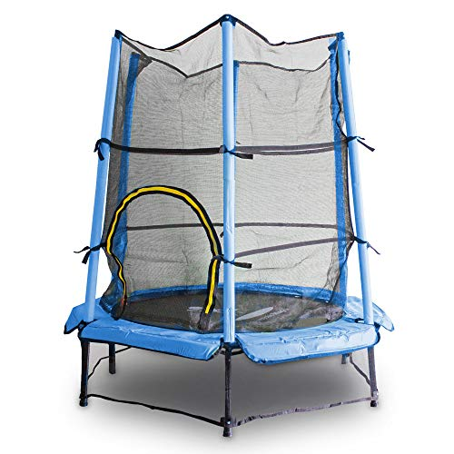 MS Point Kindertrampolin Gartentrampolin 140 cm Fitness Trampolin Komplettset für Indoor und Outdoor (Blau)