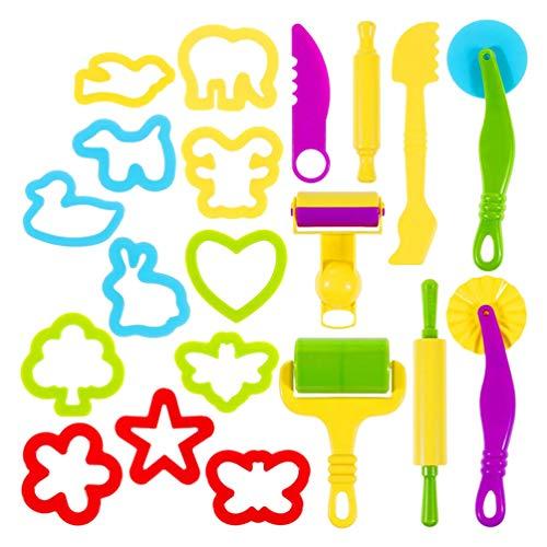 Toyvian 20 Piezas de Herramientas de Masa de Arcilla para Jugar Juguetes de Masa con Varios Moldes de Plástico para Cortar Moldes para Niños