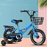 LFFCC 12' 14' 16' 18' Bicicleta Niños con Ruedas De Entrenamiento para Las Edades De 2-12 Años De Edad Las Niñas Y Bebés, Niños Pequeños Niños De La Bicicleta,Blue + Seat,16 Inch