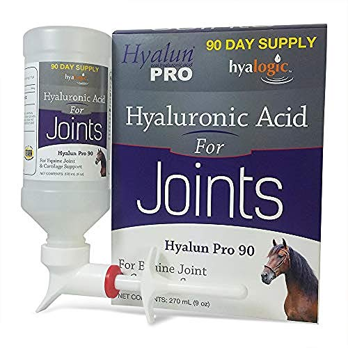 Hyalogic Hyalun Pro 90- Hyaluronic Acid Horse Joint Supplement–Equine Joint Supplement & Cartilage Care– Available as 30 and 90 Day Supplement, Horse Muscle Rub and Gel (Equine Syringe Oral)