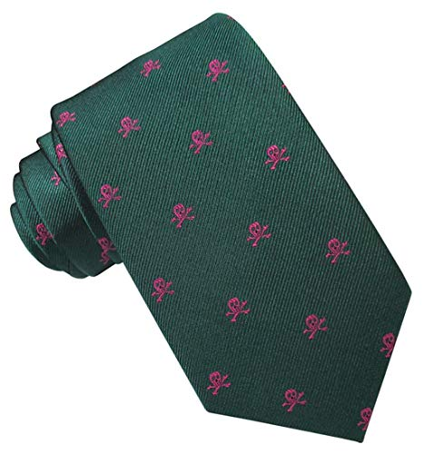 JOSVIL Corbata Seda Verde Calaveras Fucsia. Corbatas de seda para hombre. Corbata masculina.