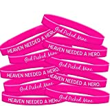 Fight Like a Girl Heaven Needed a Hero God Picked Mine Breast Cancer Wristband Bracelet 10-Pack (Hot Pink)