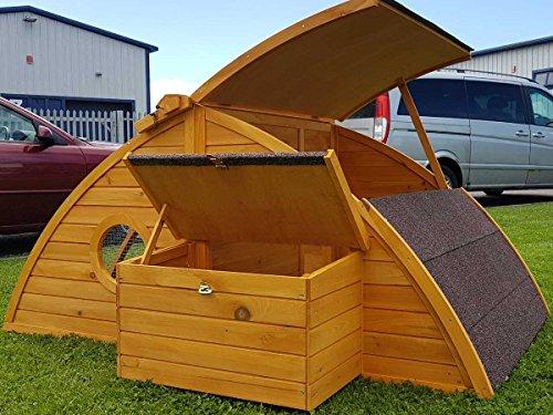Hühnerstall Hühnerhaus Cocoon Hühnerstall Half Moon mit abnehmbares Dach für einfachere Reinigung, mit stabilem Nistkasten, grosser Lebensraum und 167cm Lang inklusive Nistkasten - Designer Stall - 3