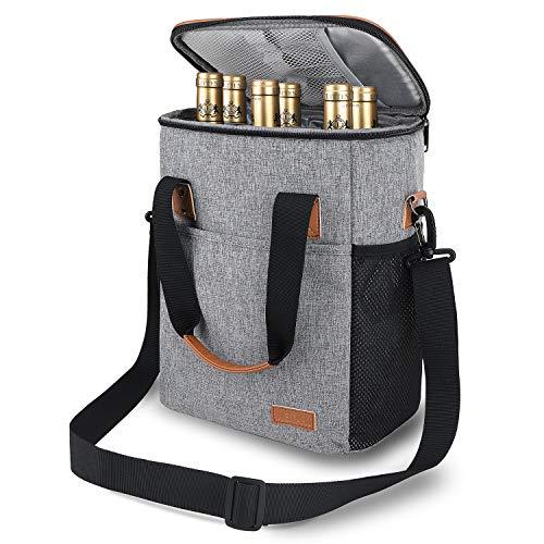 Weitars Wine Carrier Tote Bag, 6 Bottle Insulated Wine Cooler Bag Padded Portable Versatile Wine Travel Bag with Shoulder Strap for Picnic, Travel, BYOB Restaurant, Wine Tasting, Party (Grey)
