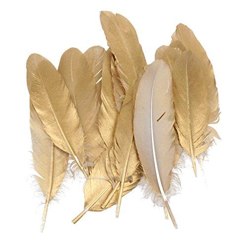 12pcs Plume D'oie Naturelle 15-20cm Accessoires De Bricolage Or