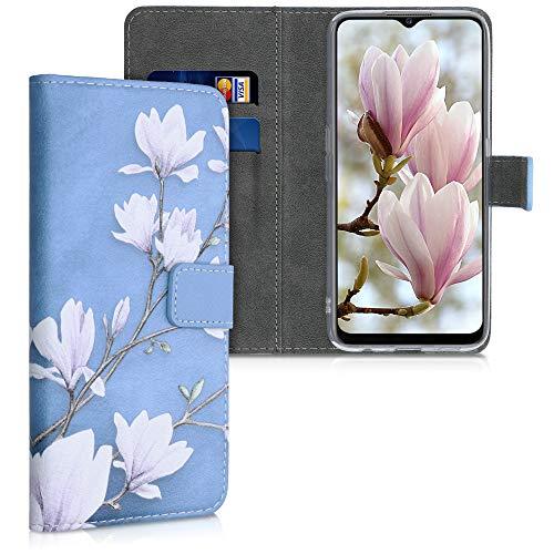 kwmobile Wallet Hülle kompatibel mit LG K22 - Hülle mit Ständer Kartenfächer Magnolien Taupe Weiß Blaugrau