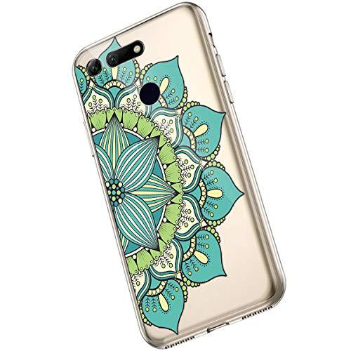Saceebe Compatible avec Huawei Honor View 20 Coque Clair Souple TPU Gel Silicone Mandala Fleur Motif Dessin Antichoc Housse de Protection Souple Mince Léger Case Anti-Rayures,Fleur Vert