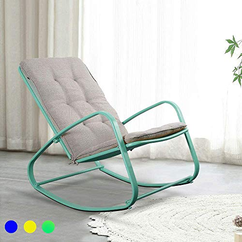 LUCKWIND Outdoor Patio Rocker Chair Metal – Wide Ergonomic High Back Supportive Cushioned Fold Reclining Glider for Porch Balcony Yard Deck (Green)