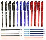 RHardware 12 bolígrafos de tinta negra, roja, azul, borrable de 0,5mm y 12 recambio de gel de bolígrafos, papelería escolar