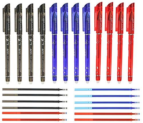 RHardware 12 penne cancellabili rosso,blu,nero,con punta a pennino da 0,5 mm, e una confezione da 12 ricariche per penne in gel, scrittura scorrevole, cancelleria per la scuola
