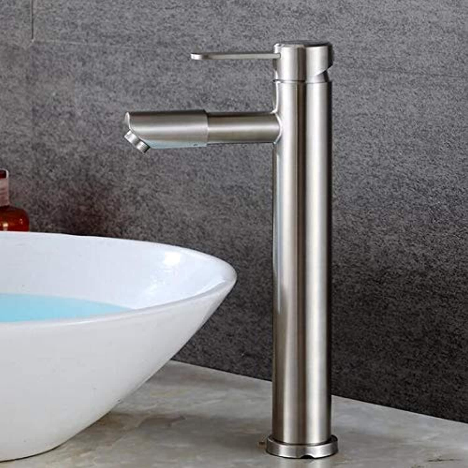 Mkkwp 304 Stainless Steel Turn Bathroom Basin Faucet Sink Basin Wash Tap Hot and Cold Single Hole Height Increase Faucet
