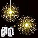 Fairy Firework Lichterketten, 2 Pack 200 Led Starry Starburst Lichter, Kupferdraht Lichterketten, 8 Modi Dimmbare Lichter mit Fernbedienung für Gartenparty Indoor Outdoor (Warmweiß)