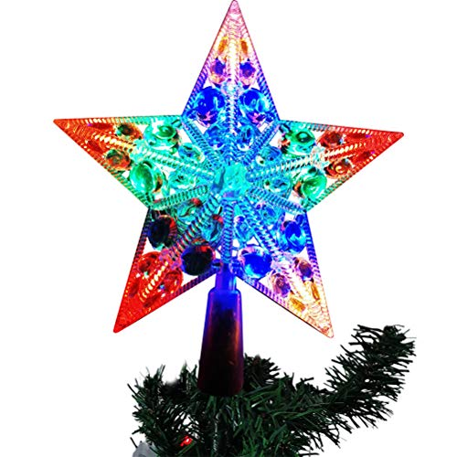 QUMocky Christmas Tree Topper Star with 20 LED Light Christmas White Gold Colour Glitter Tree Top Star Topper Hallow Wire Star Topper for Christmas Home Decoration
